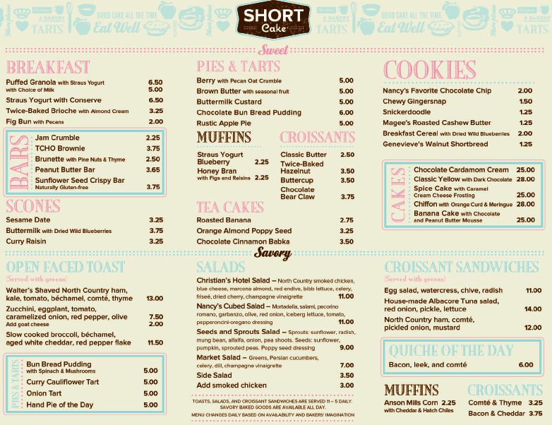 Caesars Cakes And Cafe Menu